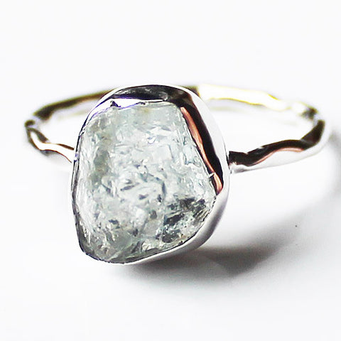 100% 925 Solid Sterling Silver Rough Cut Blue Aquamarine Semi Precious Natural Stone Ring - Sizes 6, 7, 8 or 9 - Cherish Me Jewellery - Melbourne Australia