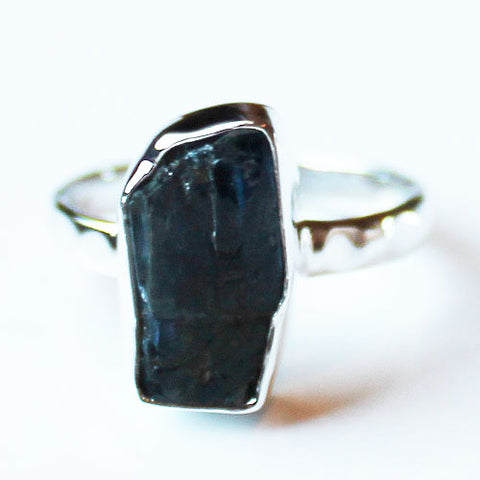 100% 925 Solid Sterling Silver Rough Blue Kyanite Stone Ring - Size 7 - Cherish Me Jewellery - Melbourne Australia