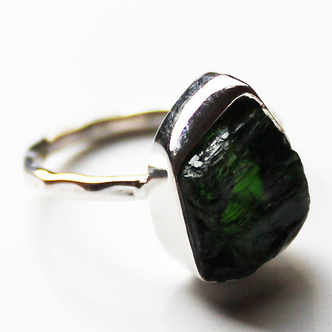 100% 925 Solid Sterling Silver Rough Cut Green Chrome Diopside Semi-Precious Natural Stone Ring - Size 6 or 7 - Cherish Me Jewellery - Melbourne Australia