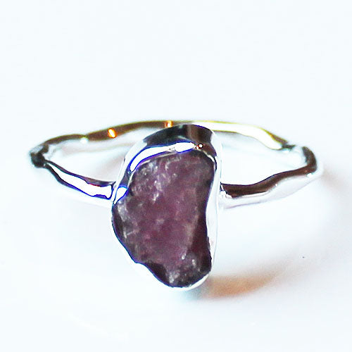 100% 925 Solid Sterling Silver Rough Cut Pink Tourmaline Semi Precious Stone Ring - Sizes 7 or 8 - Cherish Me Jewellery - Melbourne Australia