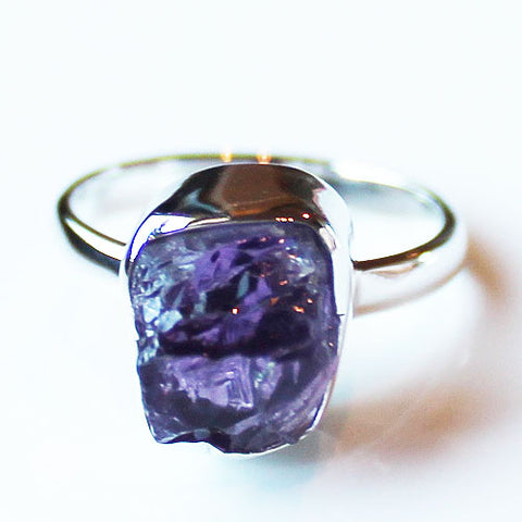 100% 925 Solid Sterling Silver Rough Cut Purple Amethyst Semi Precious Stone Ring - Sizes 6, 7 or 8 - Cherish Me Jewellery - Melbourne Australia