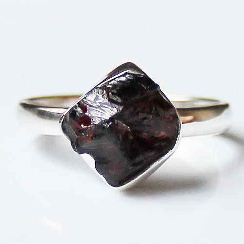 100% 925 Solid Sterling Silver Rough Cut Red Garnet Semi Precious Stone Ring - Sizes 8 - Cherish Me Jewellery - Melbourne Australia