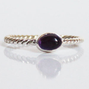 100% 925 Solid Sterling Silver Stacking Ring - Purple Amethyst Oval Shaped - Cherish Me Jewellery - Melbourne Australia