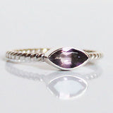 100% 925 Solid Sterling Silver Stacking Ring - Purple Amethyst Leaf Shaped - Cherish Me Jewellery - Melbourne Australia