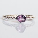 100% 925 Solid Sterling Silver Stacking Ring - Purple Amethyst Pear Shaped - Cherish Me Jewellery - Melbourne Australia