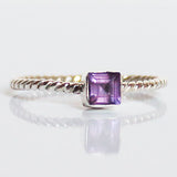 100% 925 Solid Sterling Silver Stacking Ring - Purple Amethyst Square Shaped - Cherish Me Jewellery - Melbourne Australia