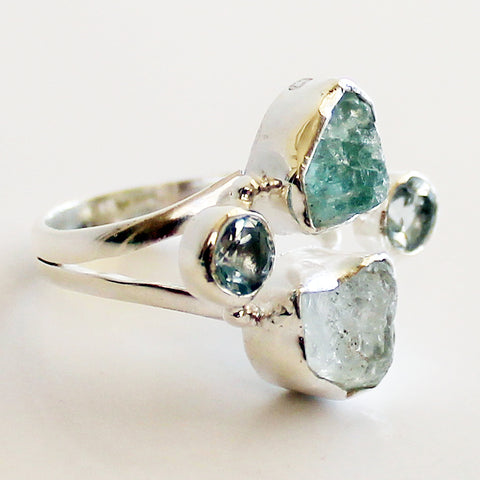 100% 925 Solid Sterling Silver Rough Cut Blue Aquamarine Semi Precious Multi-Stone Ring - Sizes 7 or 8 - Cherish Me Jewellery - Melbourne Australia