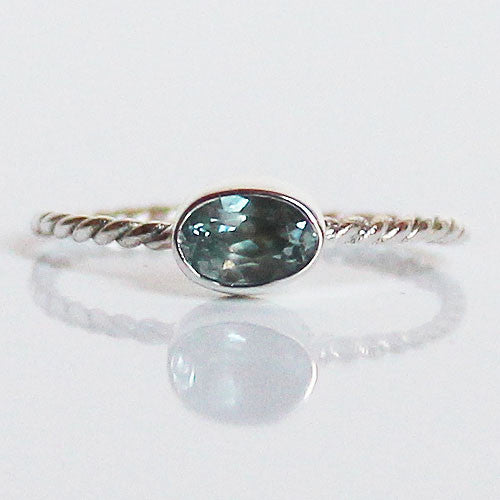 100% 925 Solid Sterling Silver Stacking Ring - Blue Topaz Oval Shaped - Cherish Me Jewellery - Melbourne Australia