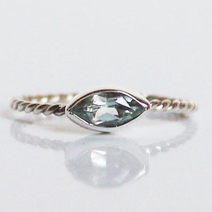 100% 925 Solid Sterling Silver Stacking Ring - Blue Topaz Leaf Shaped - Cherish Me Jewellery - Melbourne Australia