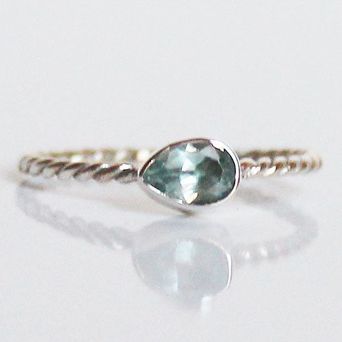 100% 925 Solid Sterling Silver Stacking Ring - Blue Topaz Pear Shaped - Cherish Me Jewellery - Melbourne Australia