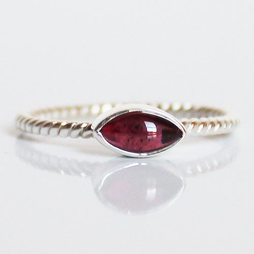 100% 925 Solid Sterling Silver Stacking Ring - Red Garnet Leaf Shaped - Cherish Me Jewellery - Melbourne Australia
