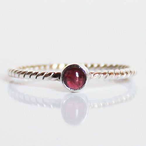100% 925 Solid Sterling Silver Stacking Ring - Red Garnet Round - Cherish Me Jewellery - Melbourne Australia