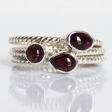 100% 925 Solid Sterling Silver Stacking Ring - Red Garnet Pear Shaped - Cherish Me Jewellery - Melbourne Australia