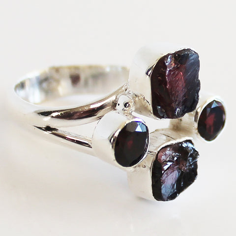 100% 925 Solid Sterling Silver Rough Cut Red Garnet Semi Precious Multi-Stone Ring - Sizes 7, 8, 9 or 10 - Cherish Me Jewellery - Melbourne Australia