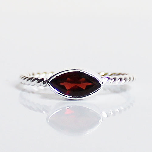 100% 925 Solid Sterling Silver Stacking Ring - Garnet Leaf Shaped - Cherish Me Jewellery - Melbourne Australia