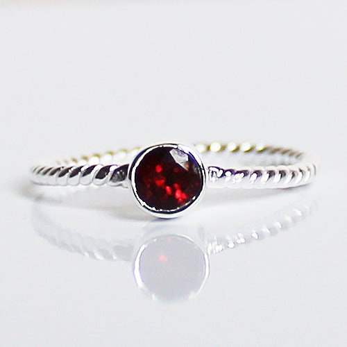 100% 925 Solid Sterling Silver Stacking Ring - Garnet Round Shaped - Cherish Me Jewellery - Melbourne Australia