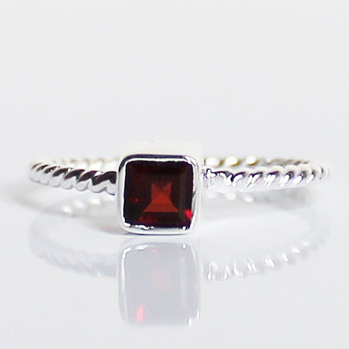 100% 925 Solid Sterling Silver Stacking Ring - Garnet Square Shaped - Cherish Me Jewellery - Melbourne Australia