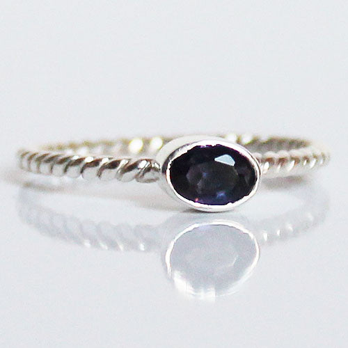 100% 925 Solid Sterling Silver Stacking Ring - Iolite Oval Shaped - Cherish Me Jewellery - Melbourne Australia