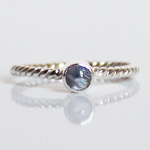 100% 925 Solid Sterling Silver Stacking Ring - Iolite Round Shaped - Cherish Me Jewellery - Melbourne Australia