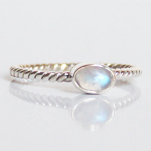 100% 925 Solid Sterling Silver Stacking Ring - Moonstone Oval Shaped - Cherish Me Jewellery - Melbourne Australia