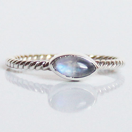 100% 925 Solid Sterling Silver Stacking Ring - Moonstone Leaf Shaped - Cherish Me Jewellery - Melbourne Australia