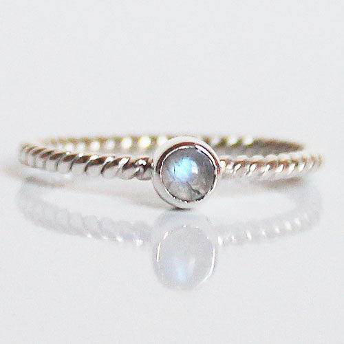 100% 925 Solid Sterling Silver Stacking Ring - Moonstone Round Shaped - Cherish Me Jewellery - Melbourne Australia