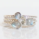 100% 925 Solid Sterling Silver Stacking Ring - Moonstone Pear Shaped - Cherish Me Jewellery - Melbourne Australia