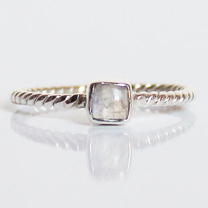 100% 925 Solid Sterling Silver Stacking Ring - Moonstone Square Shaped - Cherish Me Jewellery - Melbourne Australia
