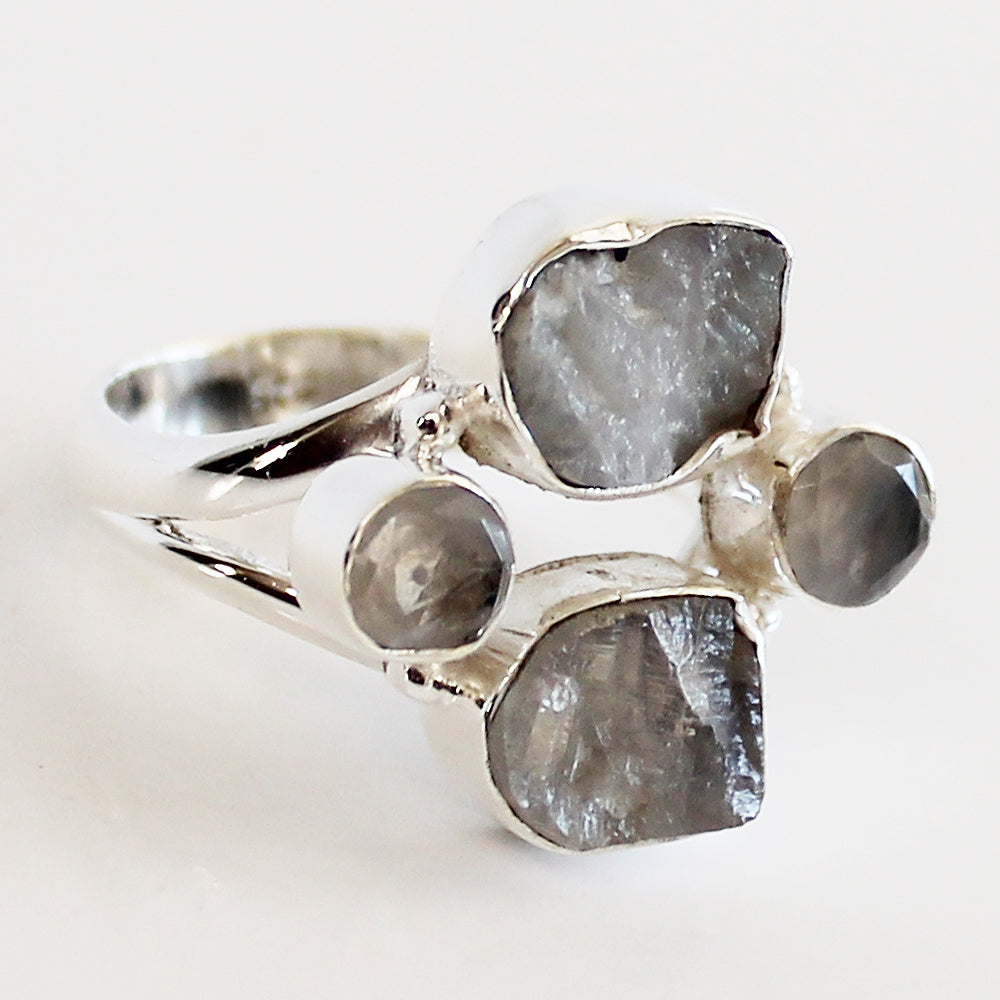 100% 925 Solid Sterling Silver Rough Cut Rainbow Moonstone Semi Precious Multi-Stone Ring - Sizes 7, 8, 9 or 10 - Cherish Me Jewellery - Melbourne Australia