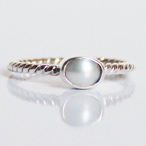 100% 925 Solid Sterling Silver Stacking Ring - Pearl Oval Shaped - Cherish Me Jewellery - Melbourne Australia