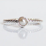 100% 925 Solid Sterling Silver Stacking Ring - Pearl Round Shaped - Cherish Me Jewellery - Melbourne Australia