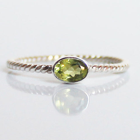100% 925 Solid Sterling Silver Stacking Ring - Peridot Oval Shaped - Cherish Me Jewellery - Melbourne Australia