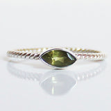 100% 925 Solid Sterling Silver Stacking Ring - Peridot Leaf Shaped - Cherish Me Jewellery - Melbourne Australia