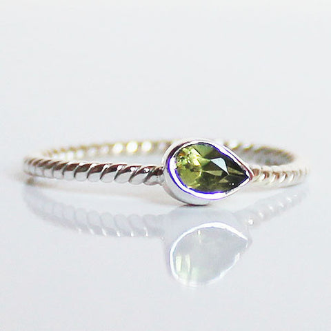 100% 925 Solid Sterling Silver Stacking Ring - Peridot Pear Shaped - Cherish Me Jewellery - Melbourne Australia