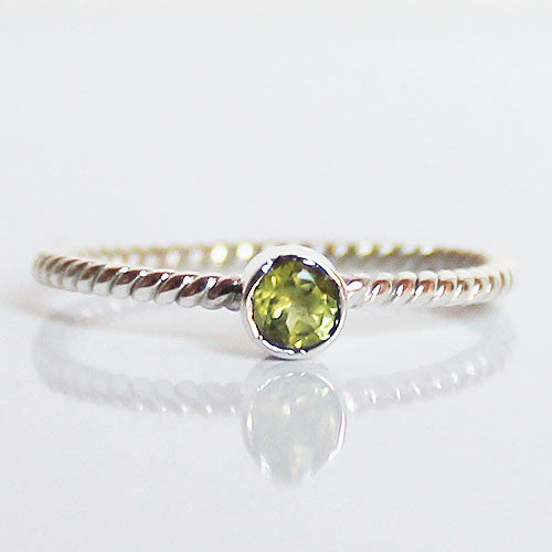100% 925 Solid Sterling Silver Stacking Ring - Peridot Round Shaped - Cherish Me Jewellery - Melbourne Australia