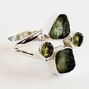 100% 925 Solid Sterling Silver Rough Cut Green Peridot Semi Precious Multi-Stone Ring - Sizes 7, 8, 9 or 10 - Cherish Me Jewellery - Melbourne Australia