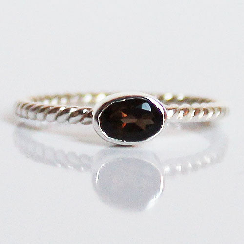 100% 925 Solid Sterling Silver Stacking Ring - Smokey Quartz Oval Shaped - Cherish Me Jewellery - Melbourne Australia