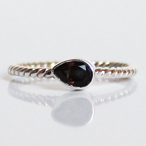 100% 925 Solid Sterling Silver Stacking Ring - Smokey Quartz Pear Shaped - Cherish Me Jewellery - Melbourne Australia