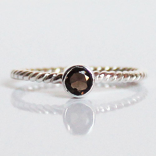 100% 925 Solid Sterling Silver Stacking Ring - Smokey Quartz Round Shaped - Cherish Me Jewellery - Melbourne Australia