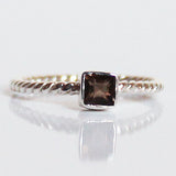 100% 925 Solid Sterling Silver Stacking Ring - Smokey Quartz Square Shaped - Cherish Me Jewellery - Melbourne Australia