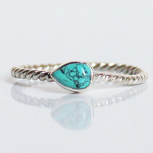 100% 925 Solid Sterling Silver Stacking Ring - Blue Turquoise Pear Shaped - Cherish Me Jewellery - Melbourne Australia