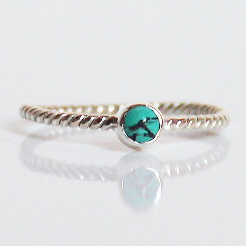 100% 925 Solid Sterling Silver Stacking Ring - Blue Turquoise Round Shaped - Cherish Me Jewellery - Melbourne Australia