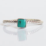 100% 925 Solid Sterling Silver Stacking Ring - Blue Turquoise Square Shaped - Cherish Me Jewellery - Melbourne Australia