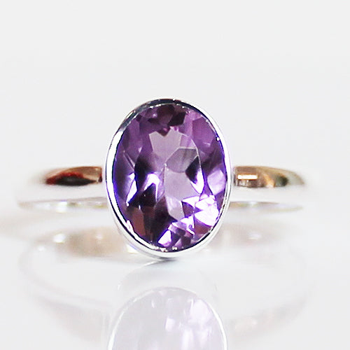 100% 925 Solid Sterling Silver D1 Faceted Purple Amethyst Stone Ring - Size 7, 8 or 9 - Cherish Me Jewellery - Melbourne Australia