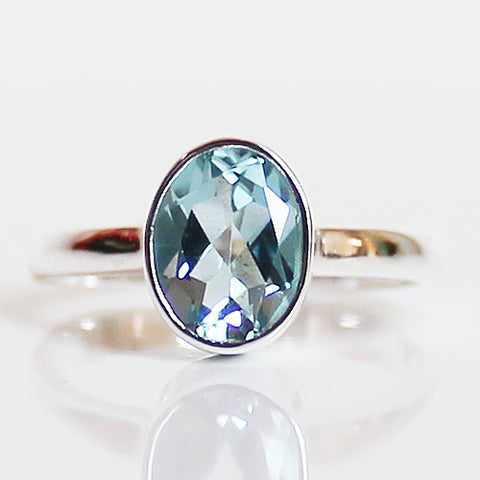 100% 925 Solid Sterling Silver D1 Faceted Blue Topaz Stone Ring - Size 7, 8 or 9 - Cherish Me Jewellery - Melbourne Australia