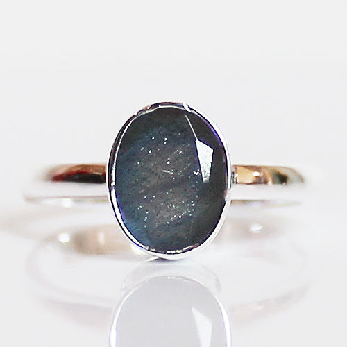 100% 925 Solid Sterling Silver D1 Faceted Blue Labradorite Stone Ring - Size 7 or 8 - Cherish Me Jewellery - Melbourne Australia