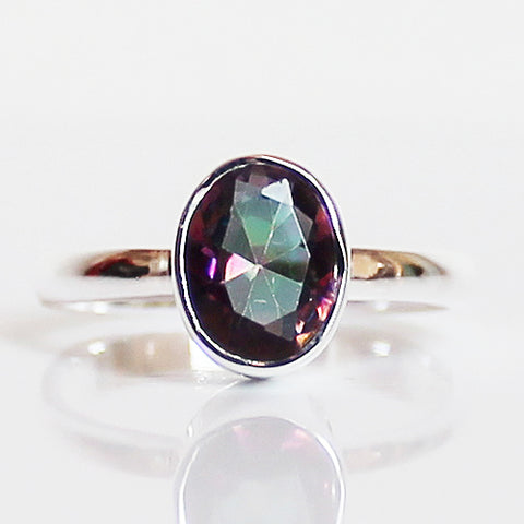 100% 925 Solid Sterling Silver D1 Faceted Mystic Topaz Stone Ring - Size 7 - Cherish Me Jewellery - Melbourne Australia
