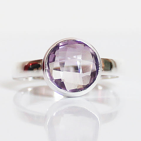 100% 925 Solid Sterling Silver D2 Faceted Purple Amethyst Stone Ring - Size 6, 7, 8 or 9 - Cherish Me Jewellery - Melbourne Australia