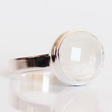 100% 925 Solid Sterling Silver Faceted Round Moonstone Stone Ring - Size 8 or 9 - Cherish Me Jewellery - Melbourne Australia