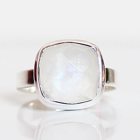 100% 925 Solid Sterling Silver Faceted Square Moonstone Stone Ring - Size 6 or 8 - Cherish Me Jewellery - Melbourne Australia